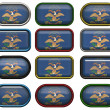 Stock Photo: 12 buttons of Flag of North Dakota