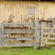 Old tired rural farm gate — Stock Photo
