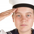 Young sailor saluting isolated white background — Stock Photo