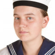 Young sailor isolated white background — Stock Photo