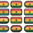 Twelve buttons of the Flag of Ghana — Stock fotografie