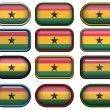 Twelve buttons of the Flag of Ghana — Stockfoto