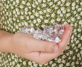 Handful of diamonds — Stock Photo