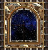 Okna gotyckie lub science-fiction, patrząc w przestrzeń lub rozgwieżdżone niebo — Zdjęcie stockowe