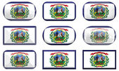 Nine glass buttons of the Flag of West Virginia — Stock Photo