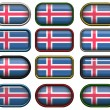 Stock Photo: 12 buttons of the Flag of Iceland