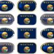 12 buttons of the Flag of Montana — Foto de Stock