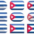 Nine glass buttons of the Flag of Cuba — Stock Photo #2063886