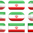 Stock Photo: Nine glass buttons of the Flag of Iran