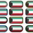 Twelve buttons of the Flag of Kuwait — Stock Photo