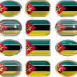 Twelve buttons of the Flag of Mozambique — Stock Photo