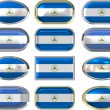 Stock Photo: Twelve buttons of Flag of Nicaragua