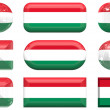 Glass buttons of the Flag of Hungary — Stock Photo