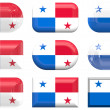 Nine glass buttons of the Flag of Panama — Stock Photo
