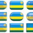 Nine glass buttons of the Flag of Rwanda — Stock Photo #2063975
