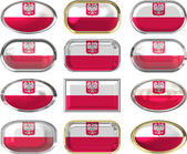 12 buttons of the Flag of Poland — Stock Photo