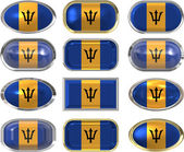 Twelve buttons of the Flag of Barbados — Stock Photo