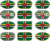 Twelve buttons of the Flag of Dominica — Stock Photo