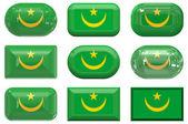 Knoppen van de vlag van mauritana — Stockfoto