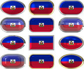 Twelve buttons of the Flag of Haiti — Stock Photo