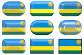 Nine glass buttons of the Flag of Rwanda — Stock Photo