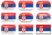 Nine glass buttons of the Flag of Serbia — Stock Photo