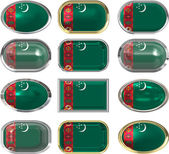 Buttons of the Flag of Turkmenistan — Stock Photo