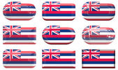 Nine glass buttons of the Flag of Hawaii — Stock Photo