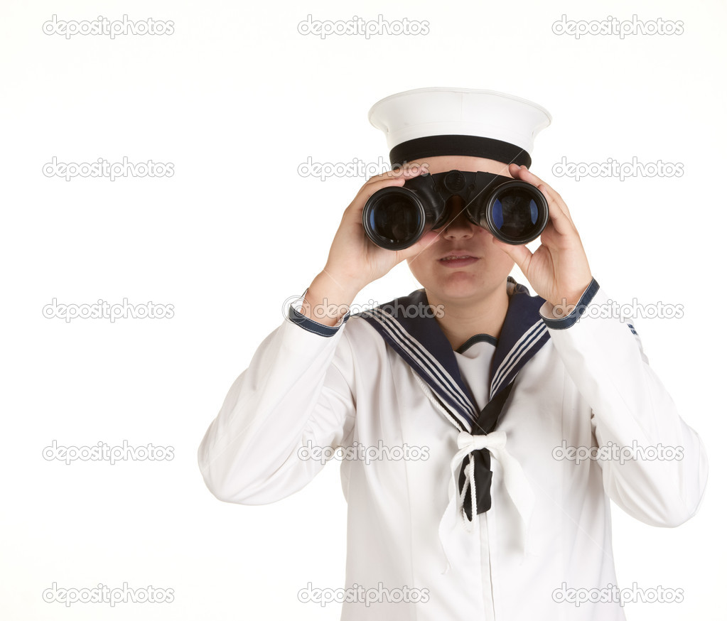 Young female sailor with binoculars isolated on white  Stock Photo #2063782