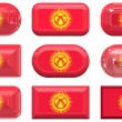 Buttons of the Flag of kyrgyzstan — Stock Photo