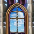 Gothic or scifi window with blue sky — Stock fotografie #2092389