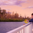 Fishing in the murray at sunset focus is — Stockfoto