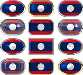 Twelve buttons of the Flag of Laos — Stock Photo