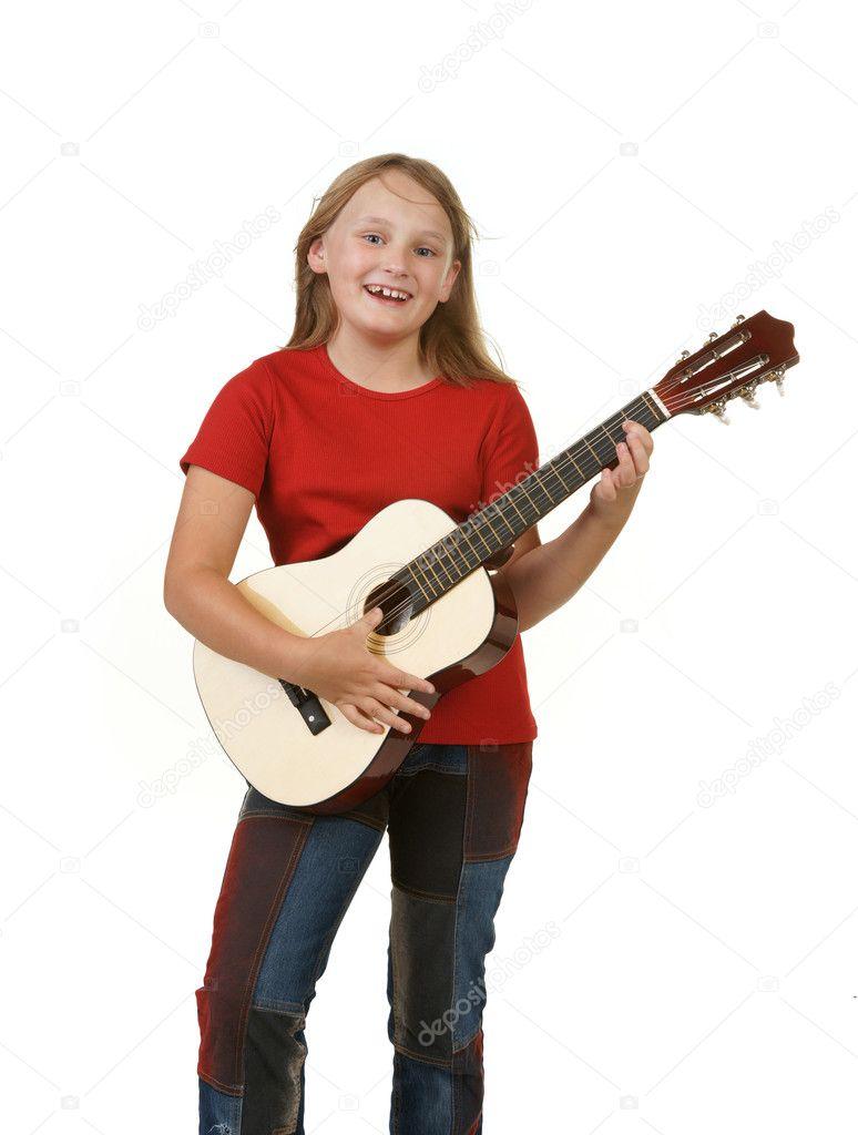 Girl Playing Guitar On White Stock Photo