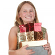 Happy girl with presents — Stock Photo #2451177