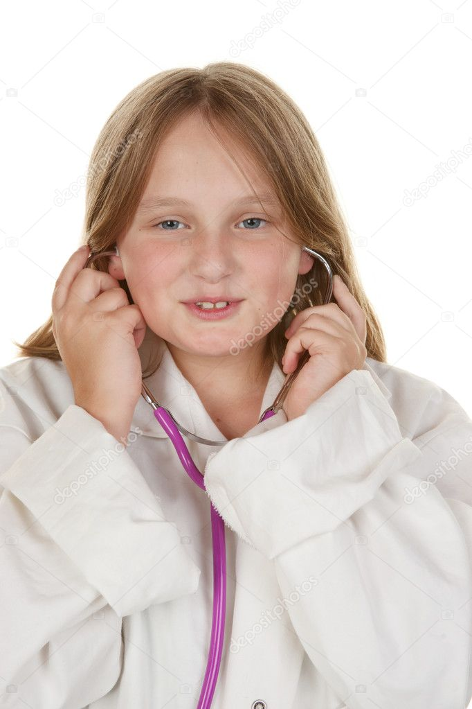 Young girl pretending to be a doctor isolated on white  Stock Photo #2587054