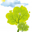 The green tree — Stock Vector