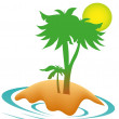 Palm on an island — Stock Vector