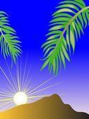 The sun rises because of a mountain — Stock Vector