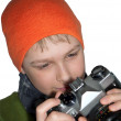 The teenager studies the camera — Stock Photo