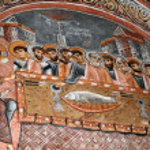 Fresco in the Dark Church — Stock Photo