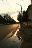 Sunset puddle — Stock Photo