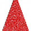 Vector de stock : Christmas tree in red and white colors