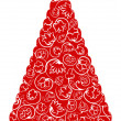 Stockvector : Christmas tree in red and white colors