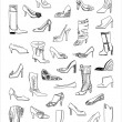 A lot of shoes — Stock Vector