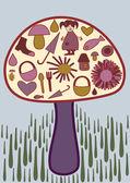 迷幻蘑菇 — 图库矢量图片