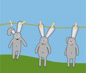 Кролики на линии — Cтоковый вектор