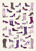 Shoes set in purple and pink — Stock Vector