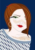 Girl with freckles — Stock Vector