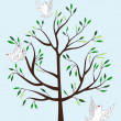 Magic tree and three white fairy pigeons — Stock Vector